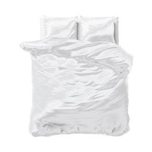 Bílé povlečení ze saténového mikroperkálu na dvoulůžko Sleeptime, 240x220cm