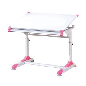 Białe biurko z różowymi lub zielonymi szczegółami 13Casa Color