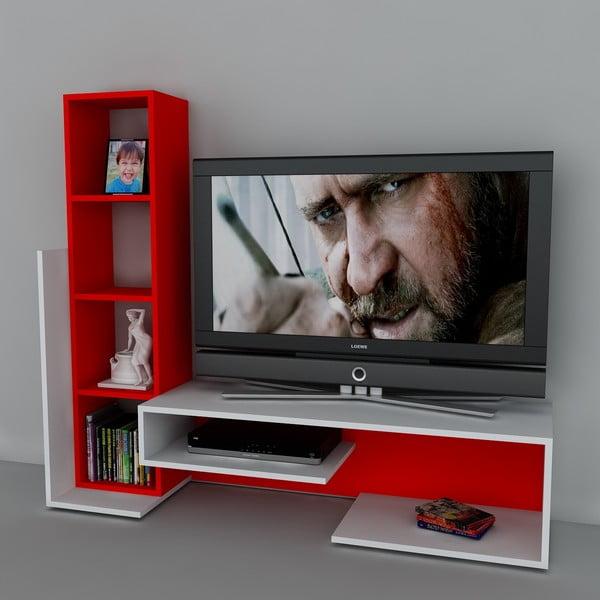 Stolik telewizyjny z regałem Bend White/Red, 39x153,6x130,9 cm