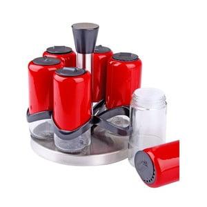 Zestaw 6 pojemników na przyprawy na obrotowym stojaku Spice Red