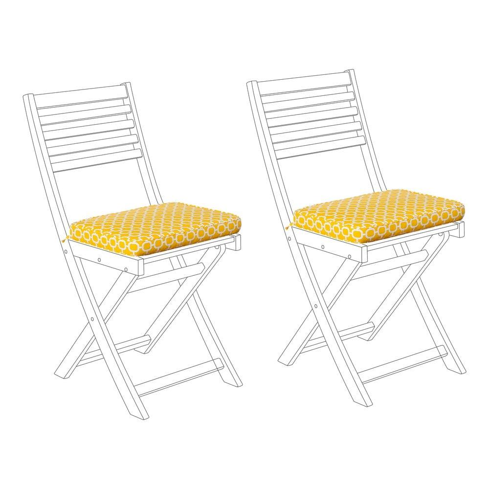 Zestaw 2 żółto-białych poduszek na krzesło ogrodowe Monobeli Mulio