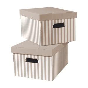 Zestaw 2 beżowych pudełek Compactor Stripes