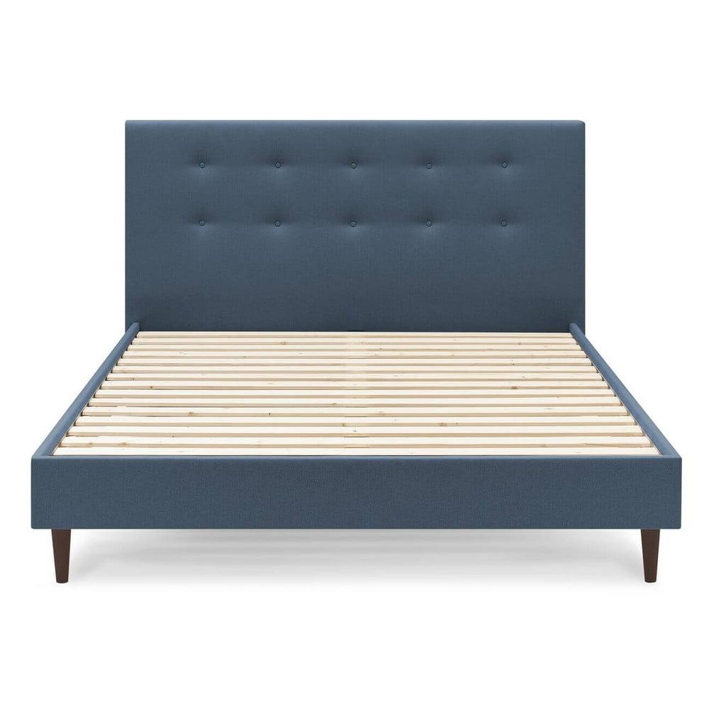 Niebieskie łóżko dwuosobowe Bobochic Paris Rory Dark, 160x200 cm