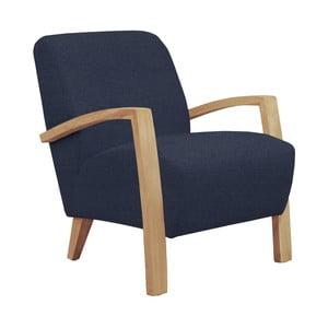 Niebieski fotel z jasnymi podłokietnikami Helga Interiors Emilia