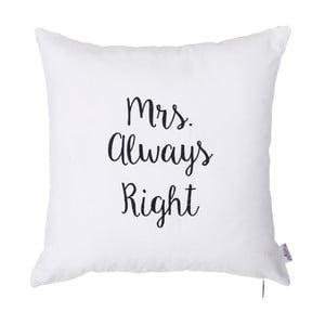 Biała poszewka na poduszkę s výšivkou Apolena Mrs Always Right, 41x41 cm