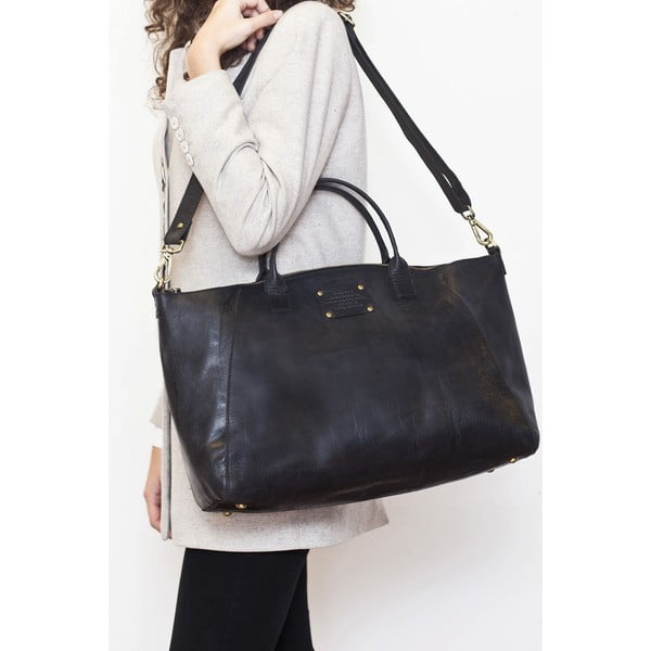 Czarna   torebka skórzana O My Bag Fly Violet Maxi