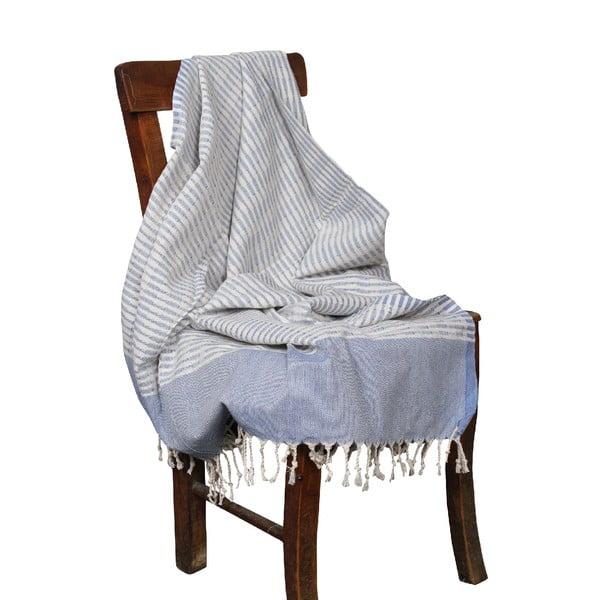 Niebieski ręcznik hammam Yummy Blue, 90x190cm