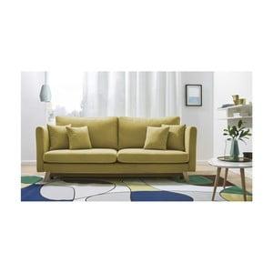 Żółta rozkładana sofa 3-osobowa Bobochic Triplo