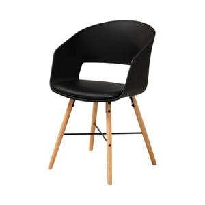 Czarne krzesło do jadalni z bukowymi nogami Interstil Luna
