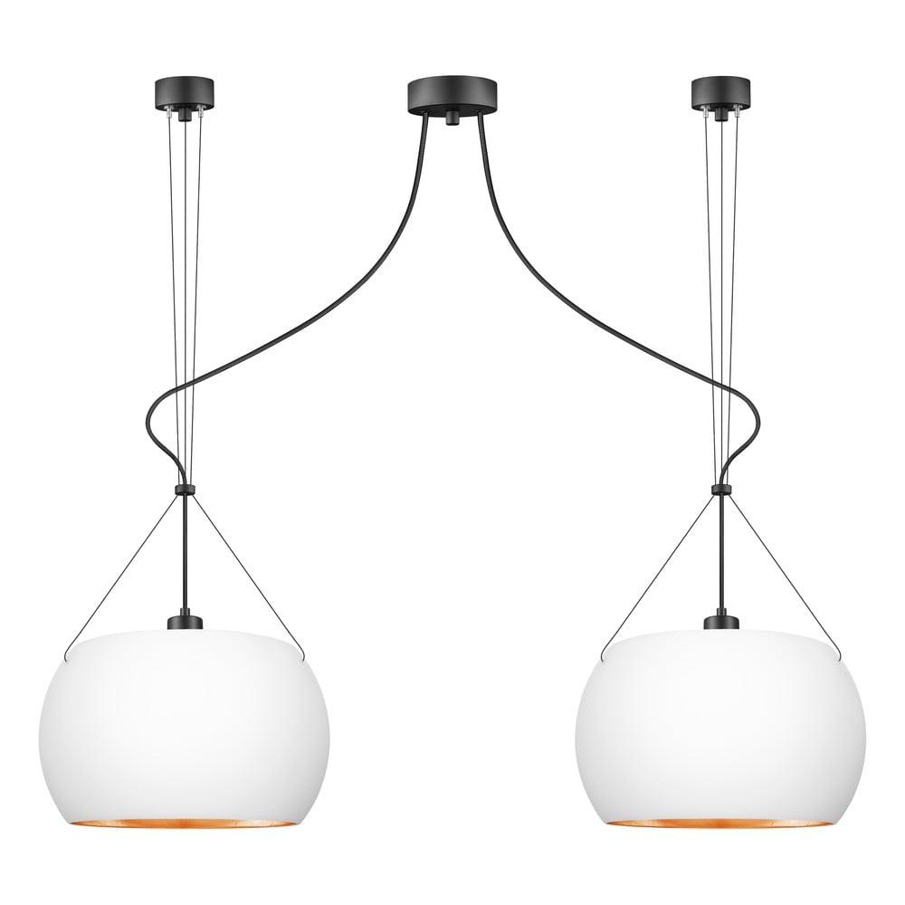 Biała lampa wisząca z 2 oprawkami i detalami w miedzianym kolorze Sotto Luce MYOO Elementary