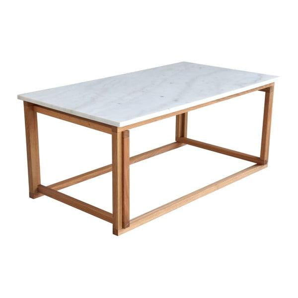 Biały stolik marmurowy z dębowymi nogami RGE Accent, szer.110cm