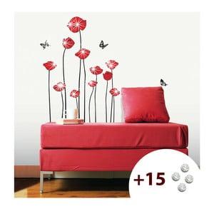 Naklejka z 15 kryształkami Swarovski Ambience Red Poppies