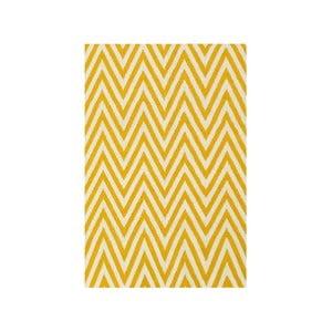 Dywan wełniany Zig Zag Yellow, 90x60 cm