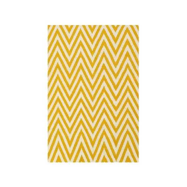 Dywan wełniany Zig Zag Yellow, 180x120 cm