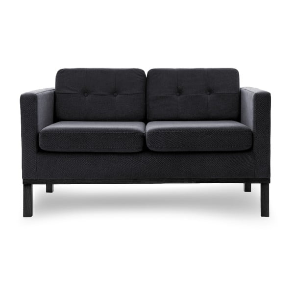 Sofa dwuosobowa VIVONITA Jonan Dark Grey, czarne nogi