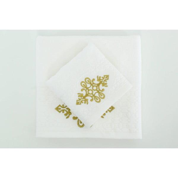 Komplet 2 ręczników Isle White Gold, 30x50 cm/50x90 cm