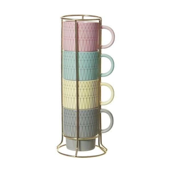 Zestaw 4 kubków na stojaku Cappuccino Coloured