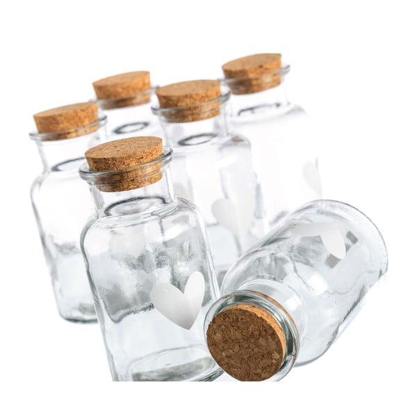 Zestaw 6 buteleczek Heart Glass