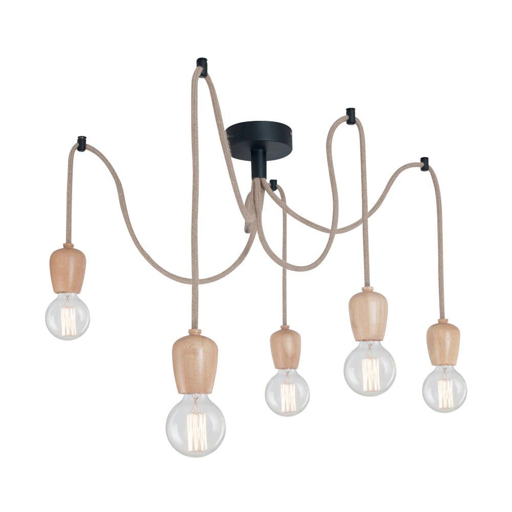 Lampa wisząca z 5 żarówkami i drewnianymi oprawkami Homemania Shold