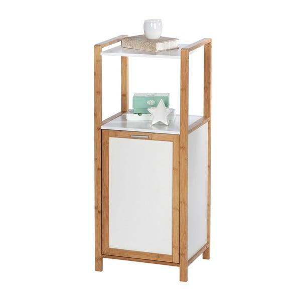 Bambusowy regał łazienkowy z wbudowanym koszem na pranie Wenko Finja