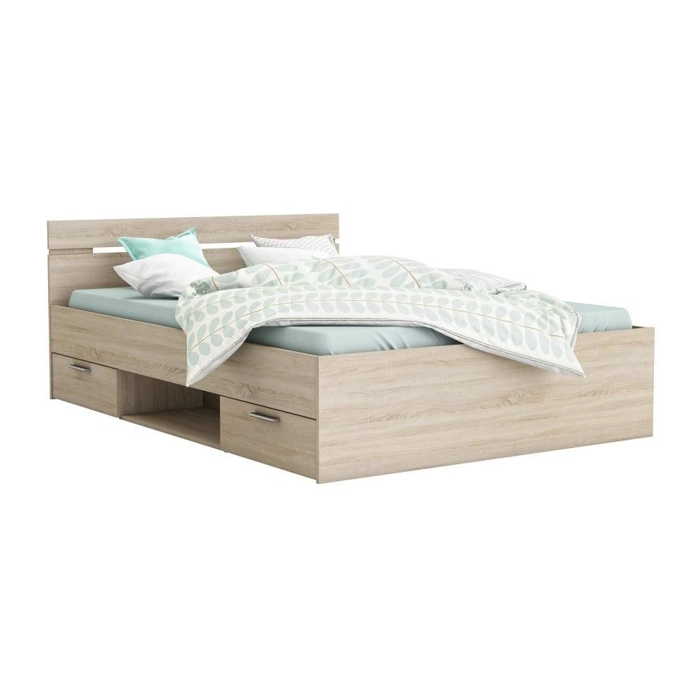 łóżko Z 2 Szufladami Z Dekorem Jasnego Dębu Michigan 140 X 200 Cm Bonami