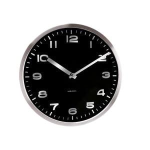 Czarny zegar ścienny Present Time Mirror Numbers