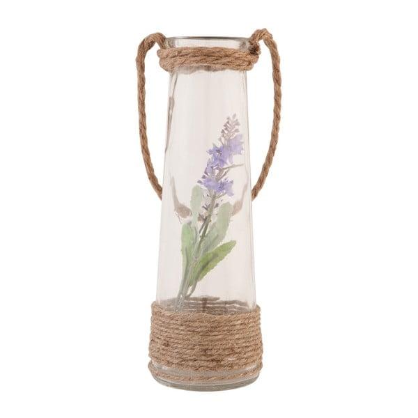 Szklany wazon ze sztucznym kwiatem Clayre, 25 cm