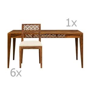 Stół i 6 krzeseł z palisandru Massive Home Rosie