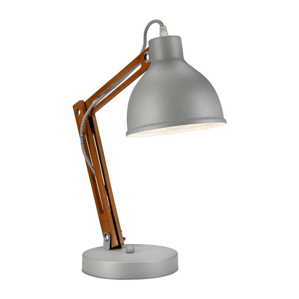 Szara lampa stołowa Lamkur Marcello