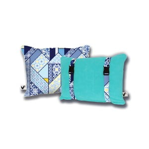 Turkusowa dwustronna poduszka plażowa Origama Lisboa