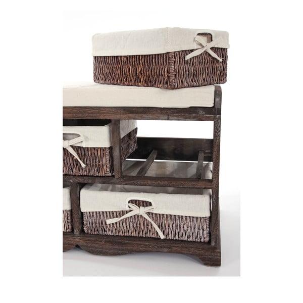 Brązowa ławka z koszykami Mendler Shabby