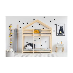 Łóżko piętrowe w kształcie domku z drewna sosnowego Adeko Mila DMP, 80x160 cm