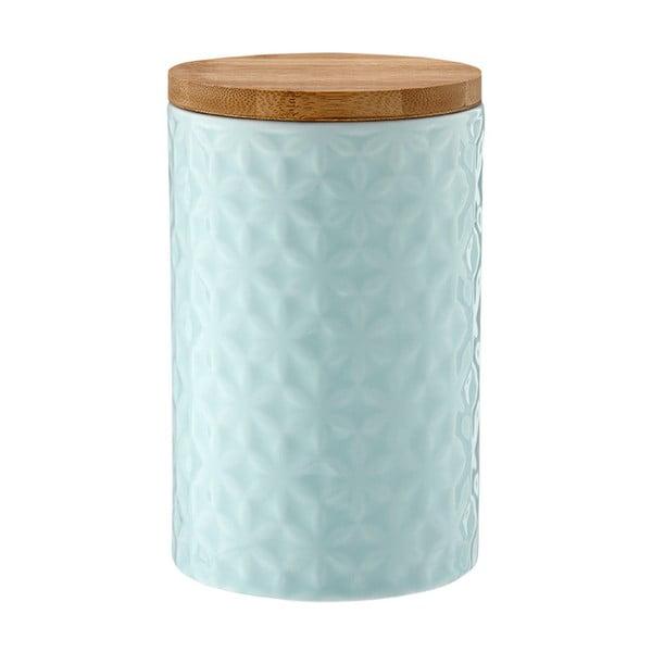 Turkusowy porcelanowy pojemnik z bambusowym wieczkiem Ladelle Halo Flower, wys. 17cm