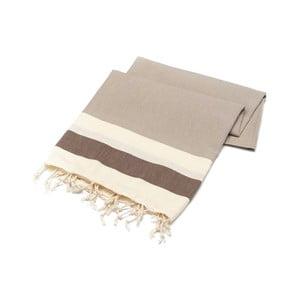 Beżowy ręcznik Hammam Begonvilla, 100x180cm