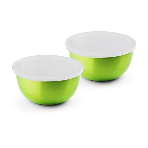 Zestaw 2 zielonych misek ze stali nierdzewnej z przykrywką do kuchenki mikrofalowej Bonita