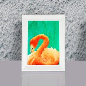 Obraz w ramie Dekorjinal Pouff Painted Flamingo, 23x17cm