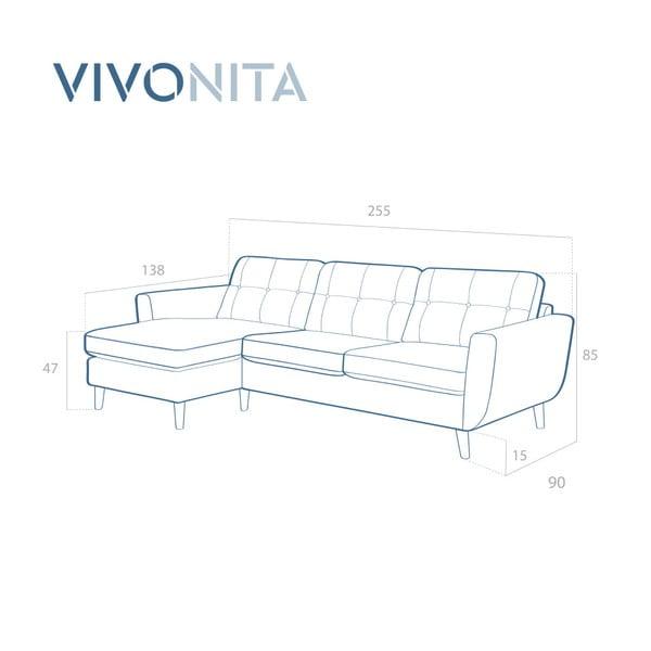Szara sofa z szezlongiem po lewej stronie Vivonita Harlem