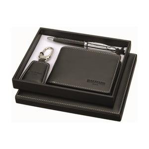 Zestaw pióra, breloczka i czarnego skórzanego portfela Balmain Ballpoint