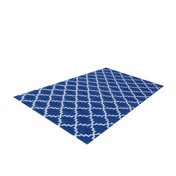 Ciemnoniebieski dywan wełniany Bakero Eugenie, 180x120cm