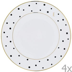 Zestaw 4 dużych talerzy Elle Polka Dot Dinner