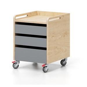 Szafka na kółkach z 3 szarymi szufladami Devoto Moody