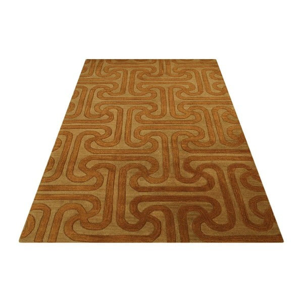 Wełniany dywan Twist Camel Gold, 153x244 cm