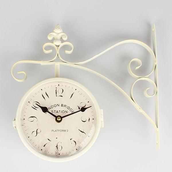 Metalowy dwustronny zegar Cross White