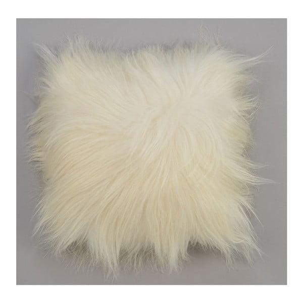 Dwustronna futrzana poduszka z długim włosem White, 50x50 cm