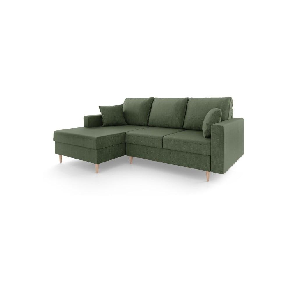Szarozielona 4-osobowa sofa rozkładana ze schowkiem Mazzini Sofas Aubrieta, lewostronna