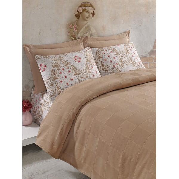 Komplet narzuty, prześcieradła i poszewki na poduszkę Fashion Brown, 200x235 cm
