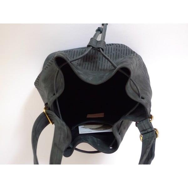Skórzana torebka na ramię Cut Out, czarna