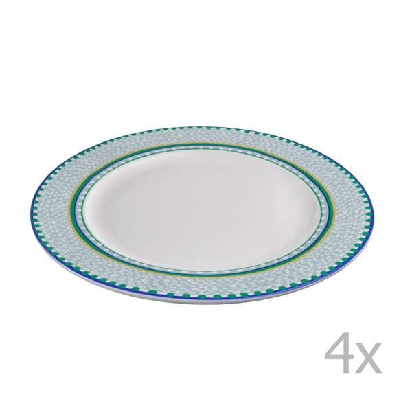 Zestaw 4 zielonych talerzy porcelanowych Oilily, 27 cm
