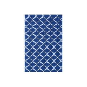 Ciemnoniebieski dywan wełniany Bakero Eugenie, 200x140cm