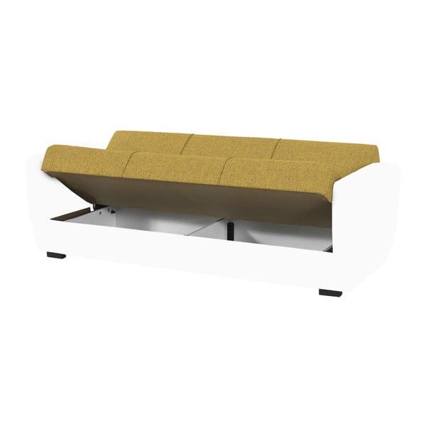 Żółto-biała trzyosobowa sofa rozkładana ze schowkiem Esidra Comfort